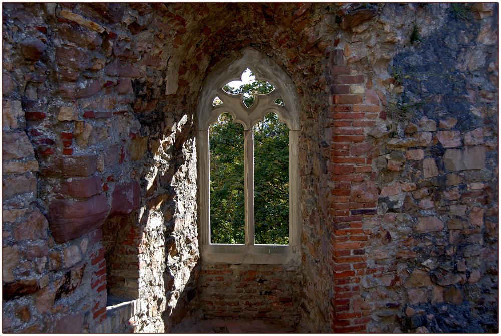 Fenster in der Schlossruine Auerbach.