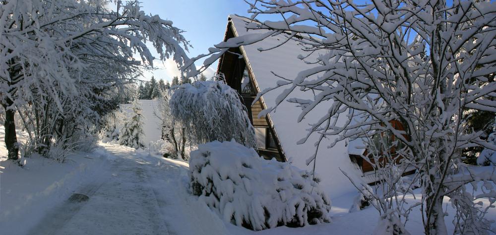 Ferienpark im Schnee