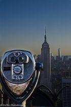 Fernblick vom Rockefeller Center ,,Top of the Rocks'' über das Empire State Building