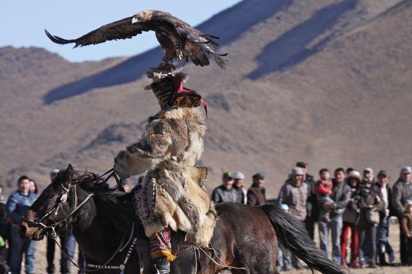Festival des Aigliers en Mongolie...Démonstration...