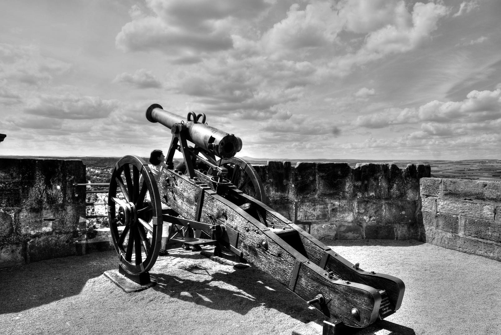 Festung Coburg in Bayern, Kanone auf einer vorgelagerten Bastion