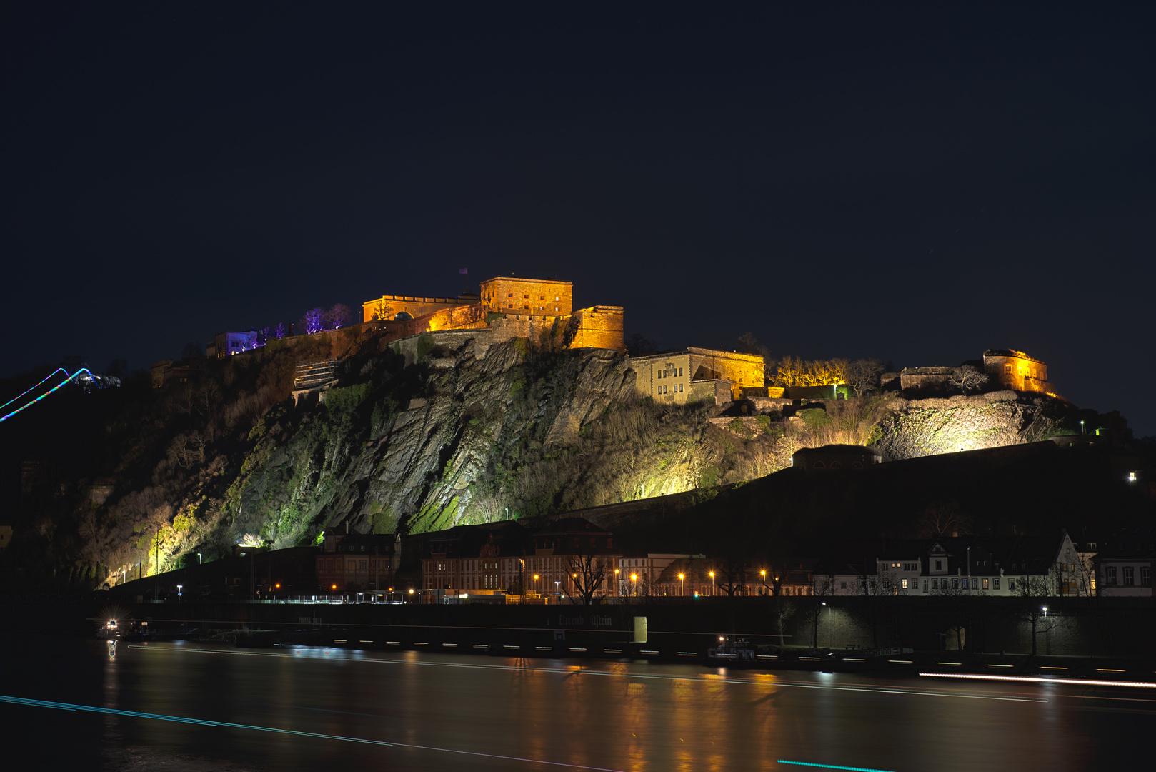 Festungsleuchten auf dem Ehrenbreitstein März 2013