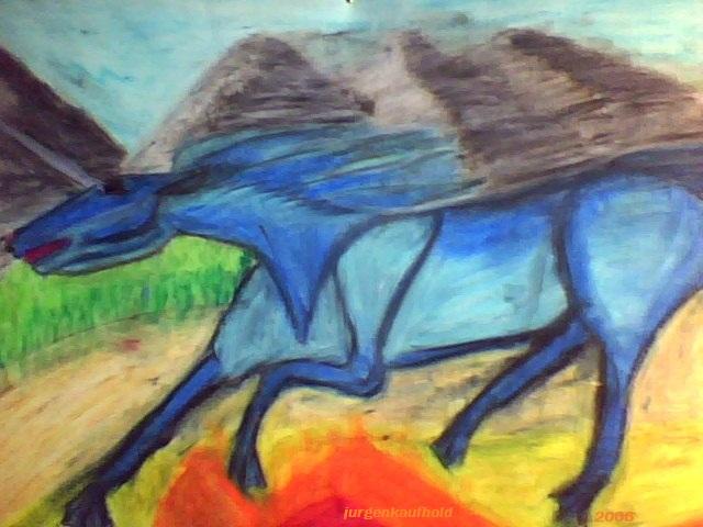 Feuerpferd, Kreide auf Zeichenkarton, selber gemalt, 40x60 cm