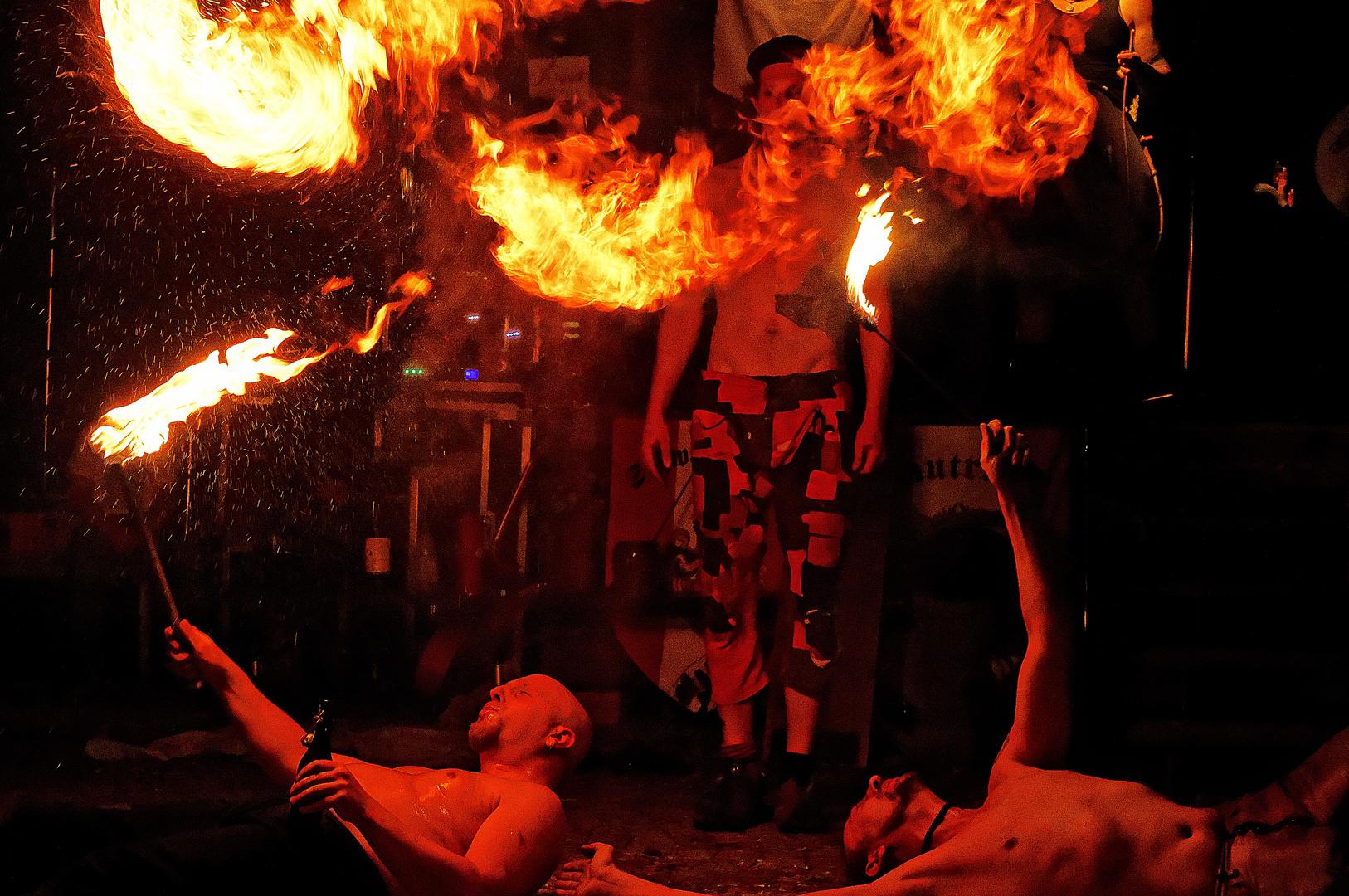 Feuershow zum Herbstmarkt in Hohenmölsen