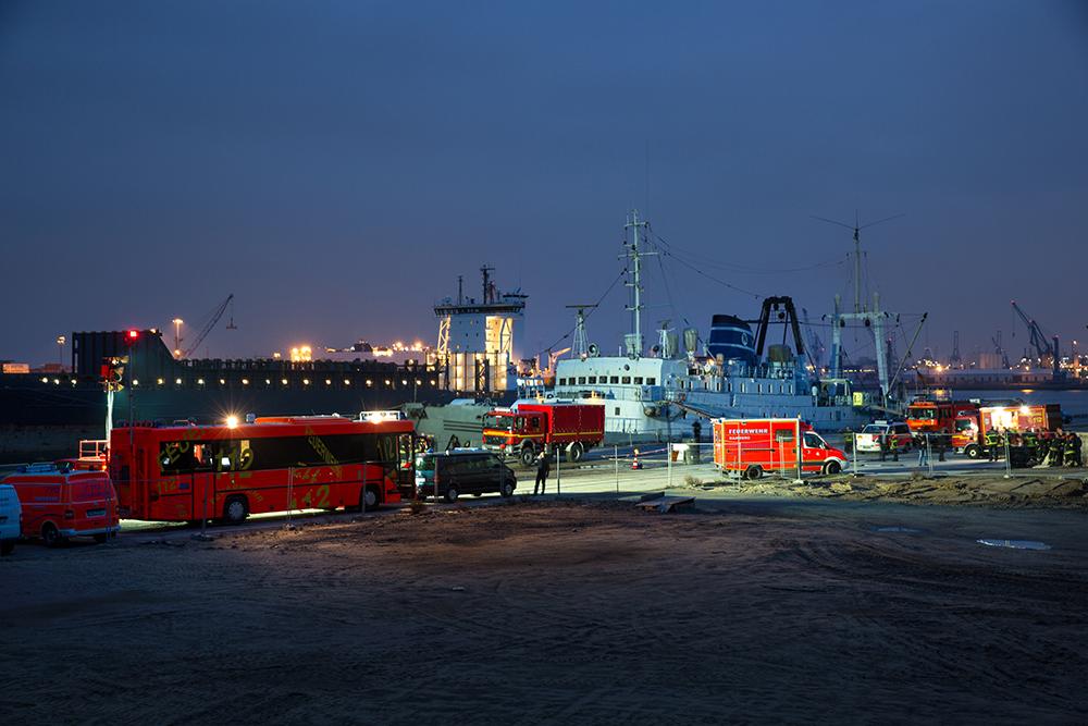 Feuerwehreinsatz am Baakenhafen