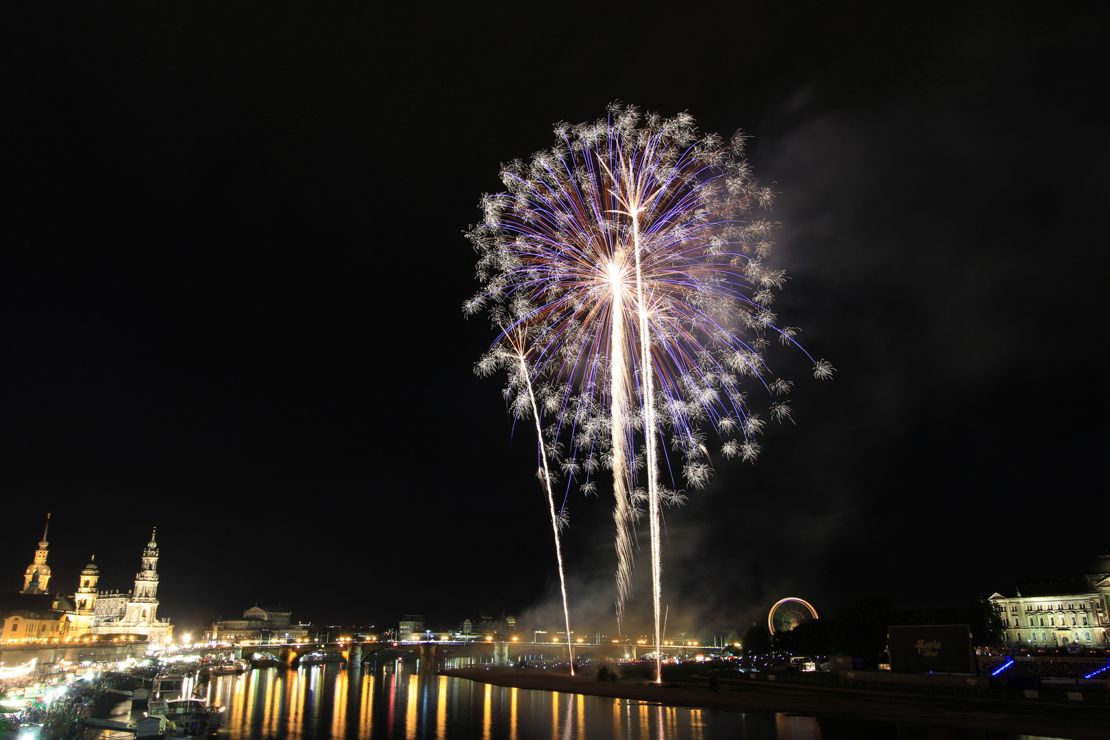 Feuerwerk-Blume zum Stadtfest Dresden 2013