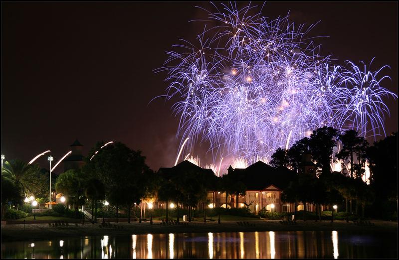 Feuerwerk EPCOT-Center vom Caribbean Beach Hotel aus