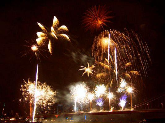 Feuerwerk in Duisburg-Mühlenweide (Hafenfest)