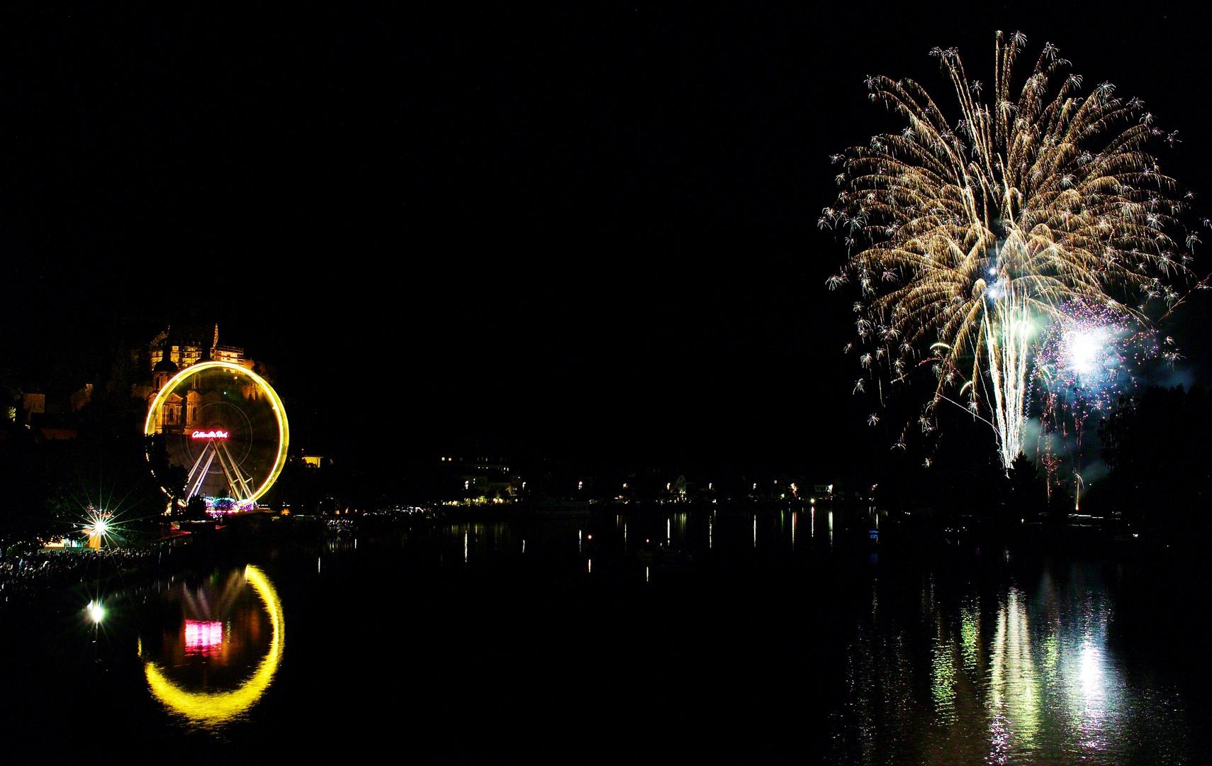 Feuerwerk mit Riesenrad, Michelsmess Miltenberg 2010