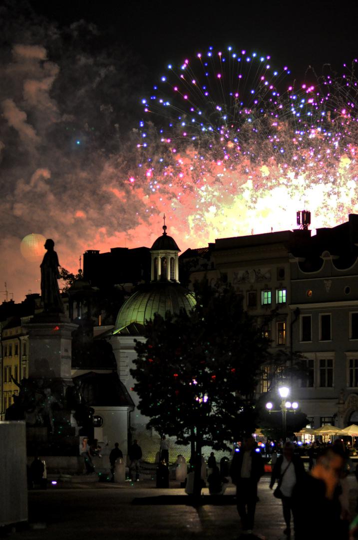 Feuerwerk über Krakau