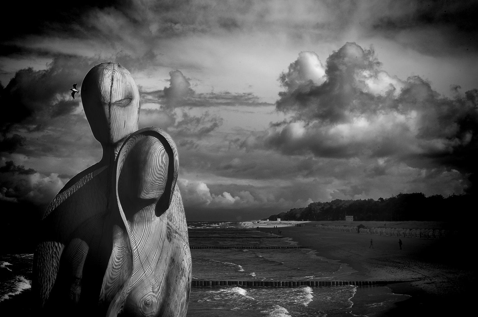 Figuren auf der Seebrücke Zingst