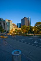 Financial District bei Sonnenuntergang