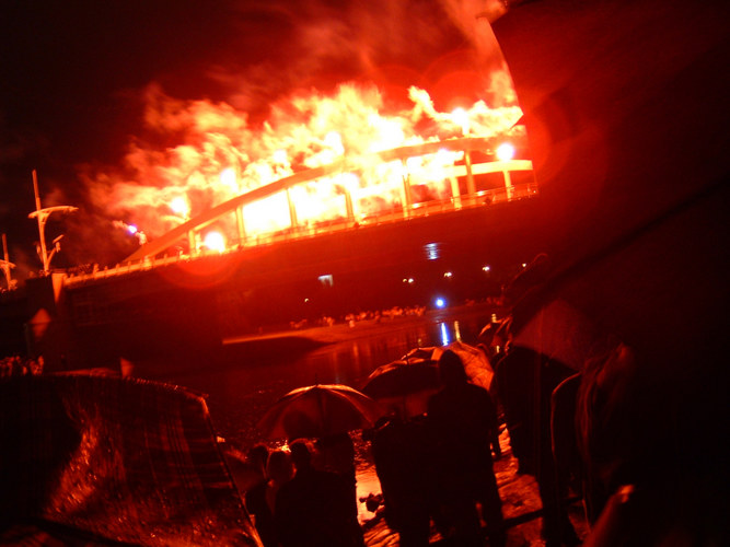 fire on the bridge