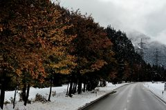 first snow on the road