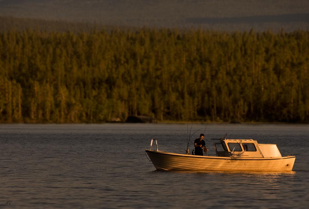 Fischen am Abend in Lappland