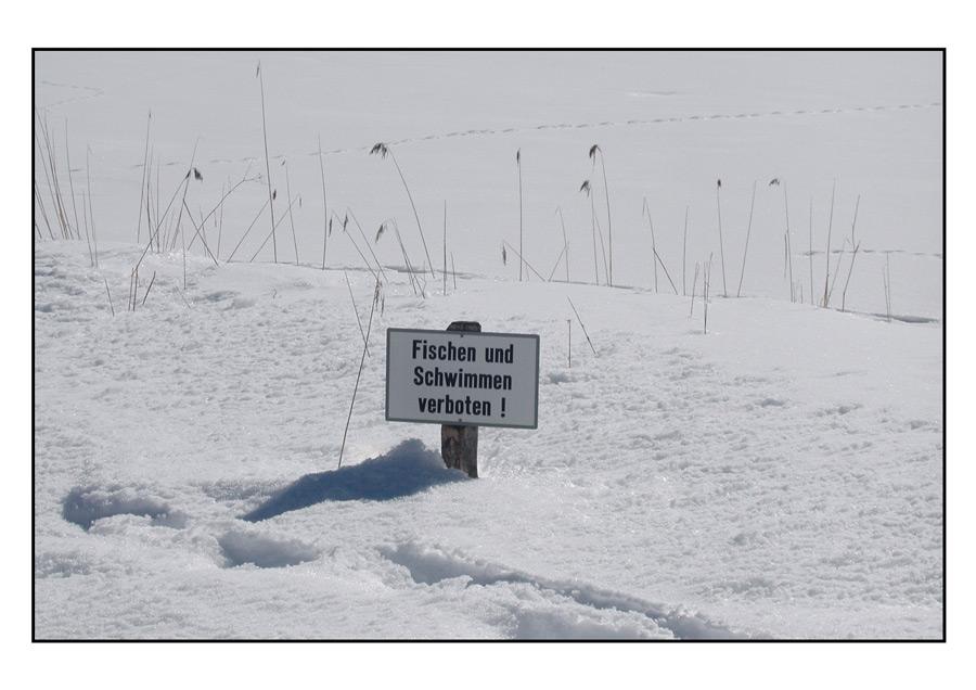 Fischen und Schwimmen verboten !
