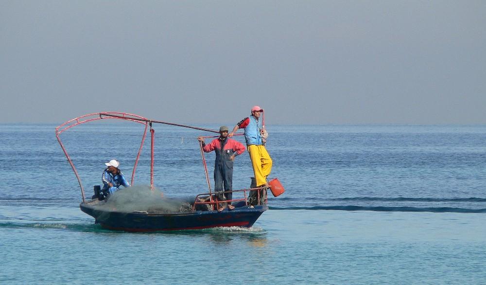 fischer bei ihrer arbeit....