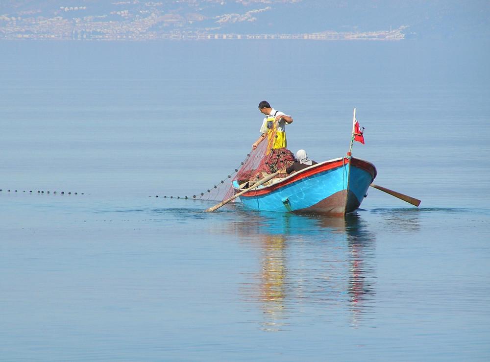 Fischer in der Bucht von Edremit, Türkei