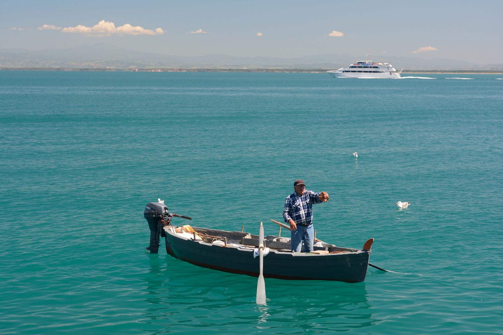 Fischer in Porto Santo Stefano fängt eine Octopuss