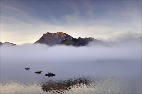Fischerlatein im Morgennebel