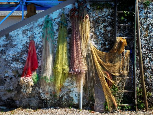 Fischernetze am Lago Maggiore