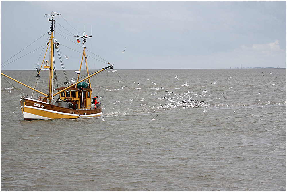 Fischkutter mit Begleitschutz