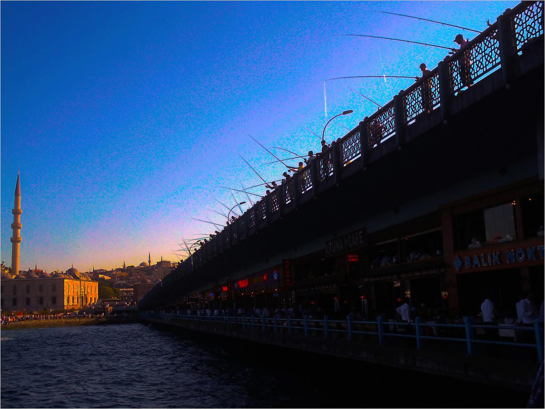 fishing off the Galata Bridge