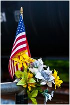 Flag, Flowers, Freight Train
