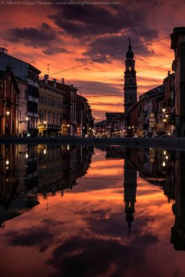 Flaming Sunset over Parma