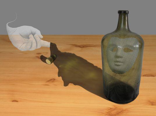 Flaschengeisters gelupfter Geisterschatten