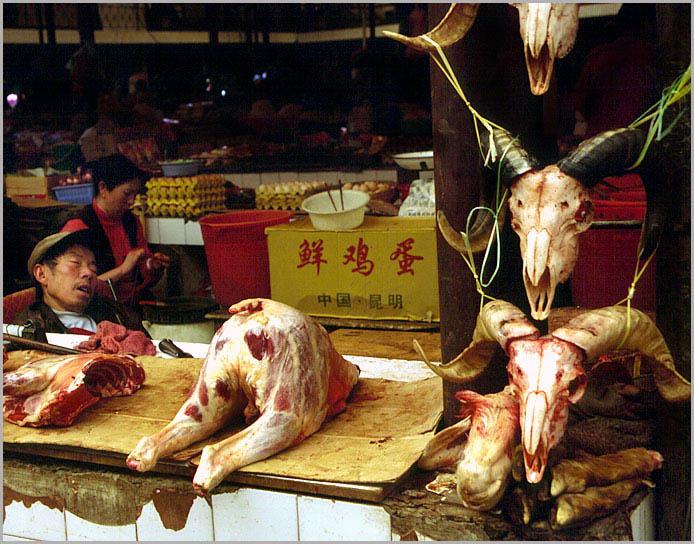 Fleischmarkt in Zhongdian