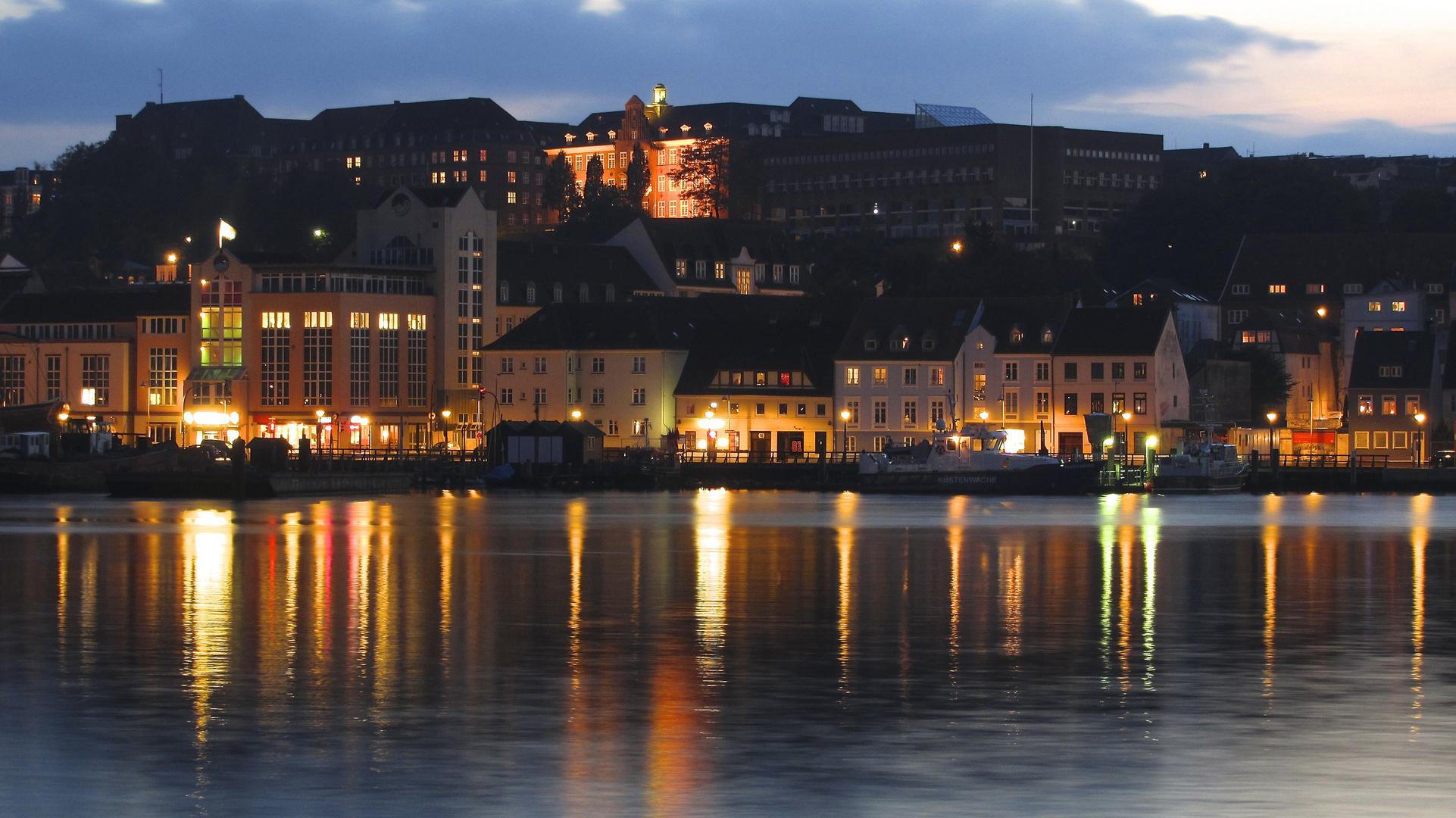 Flensburg Abendstimmung am Hafen.