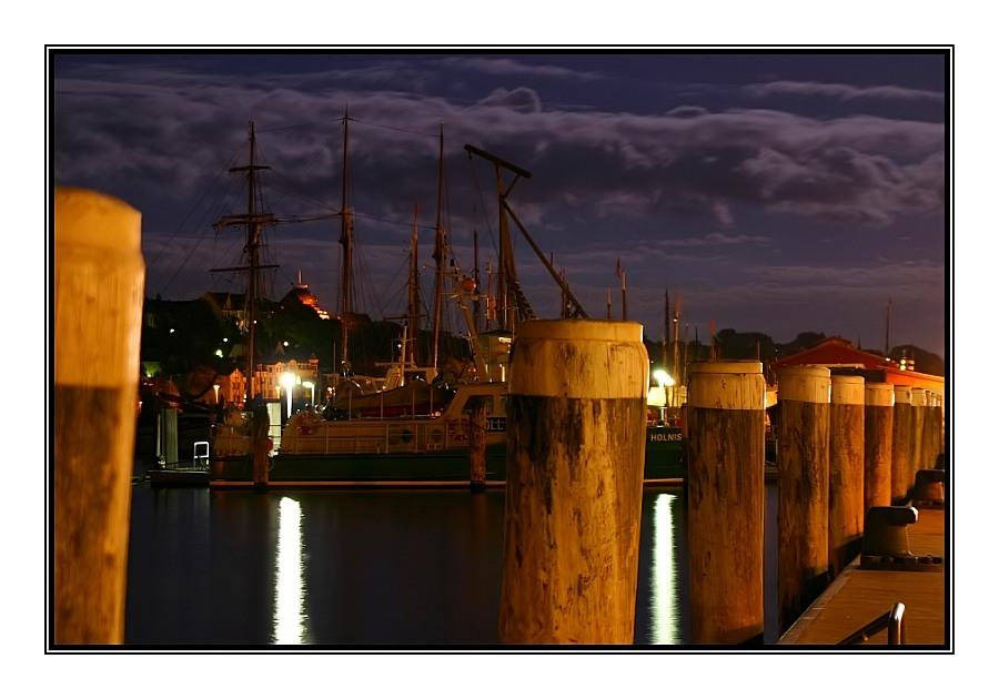 Flensburger Hafen bei Nacht