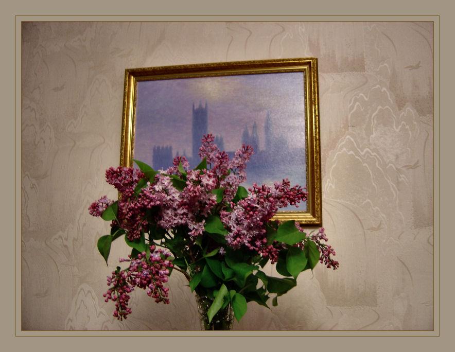 Flieder vor Monet (Öl 40x50)