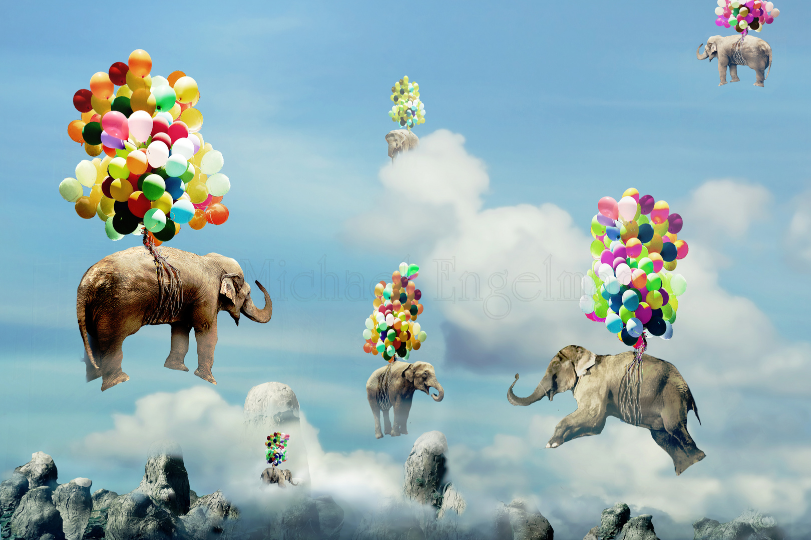fliegende elefanten foto bild fotomontage fantasy mystery digi art bilder auf fotocommunity. Black Bedroom Furniture Sets. Home Design Ideas