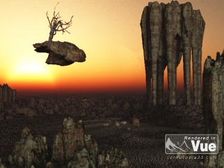 fliegender Baum auf Felsen