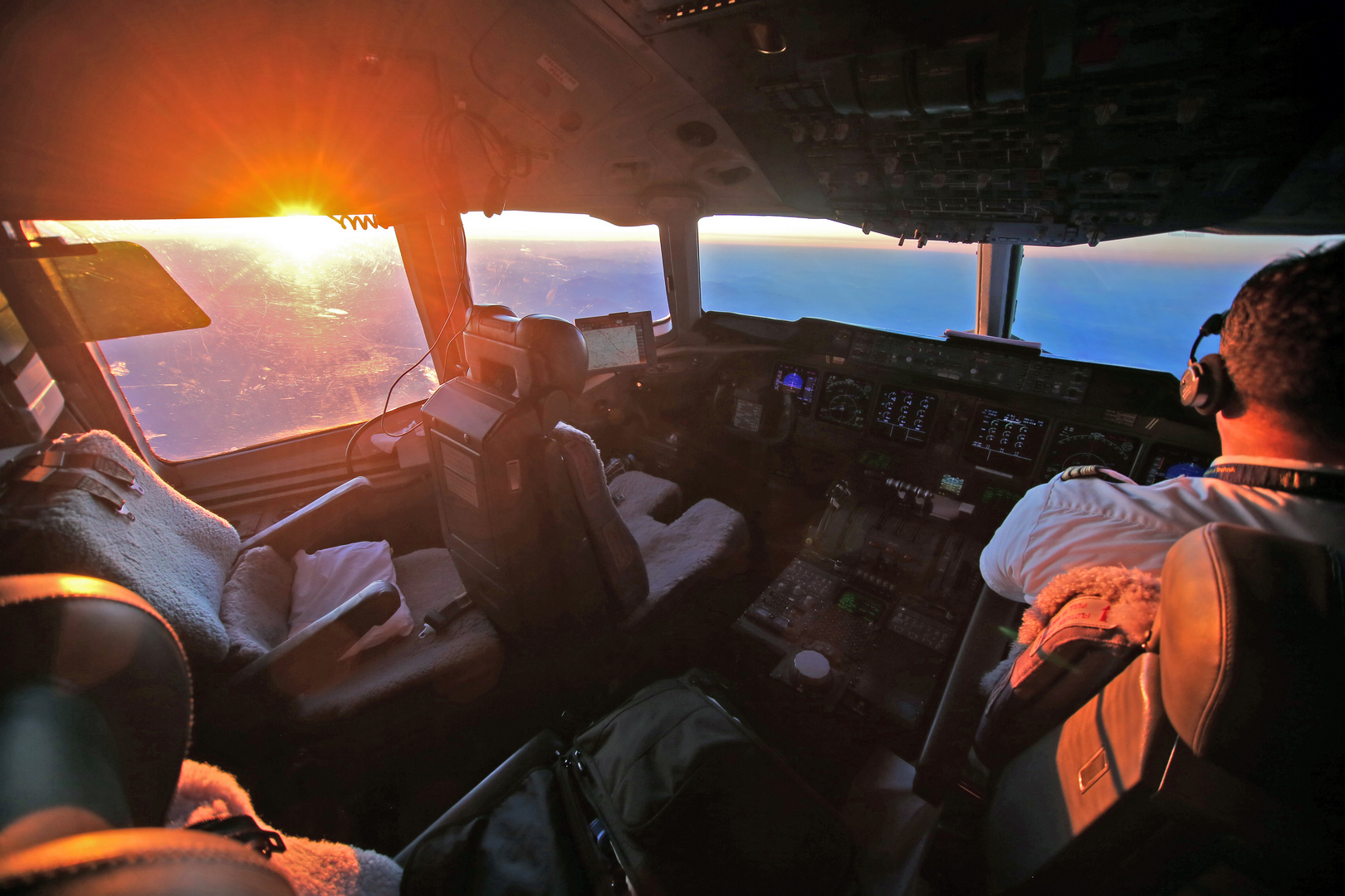 Flight to Africa-Sunrise over the Alps