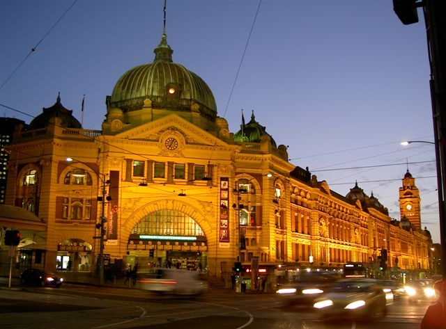 Flinders Station at night
