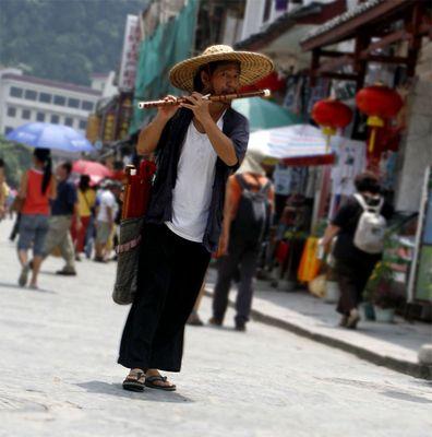 Flötenspieler in Yangshuo