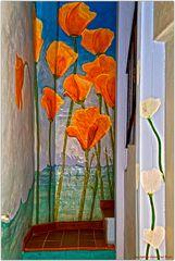 Flores en la entrada