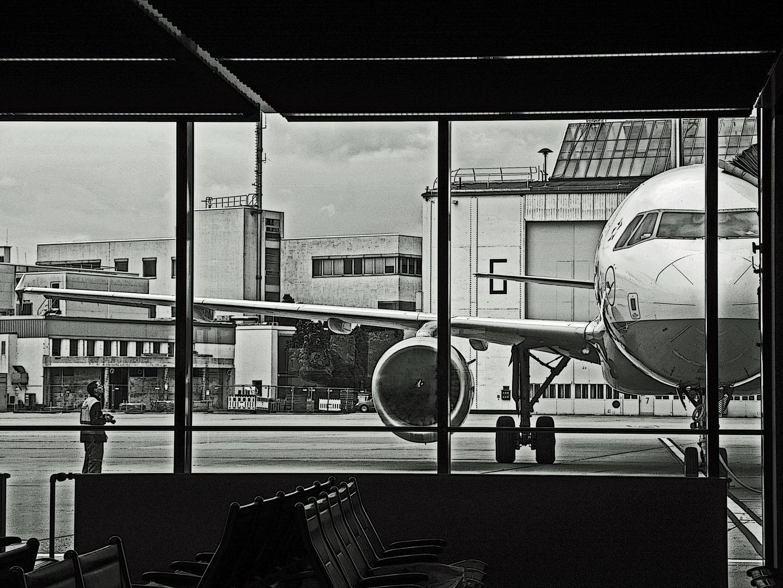 Flugzeug for the Scheibe with a Mann left daneben !