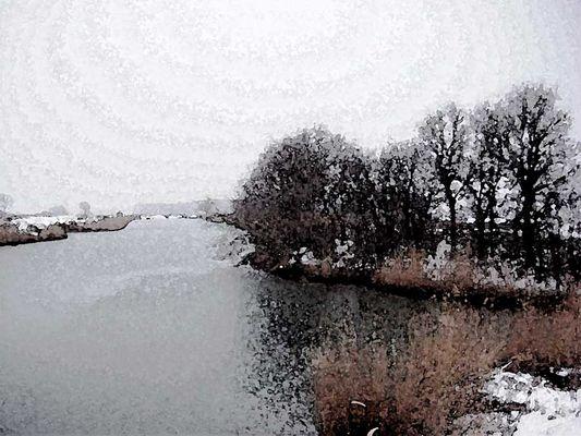 fluss winterlandschaft