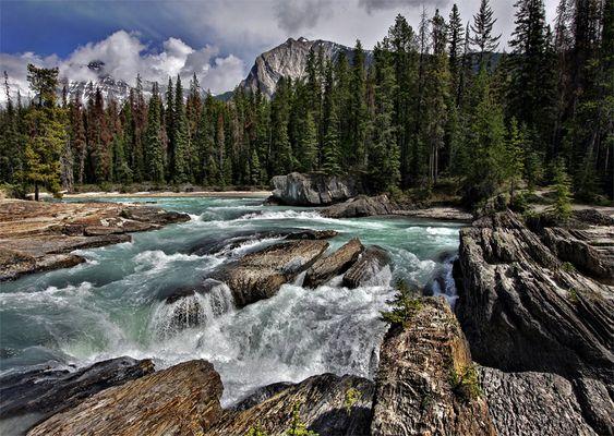 Flußlandschaft in den kanadischen Rocky Mountains