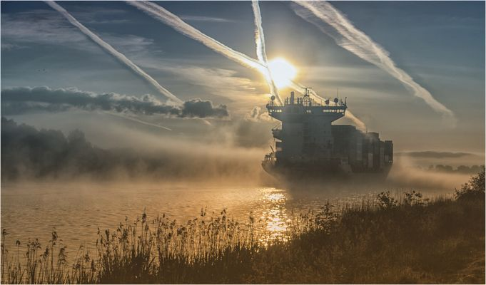 Foggy morning at Kiel-Canal.,/ Germany