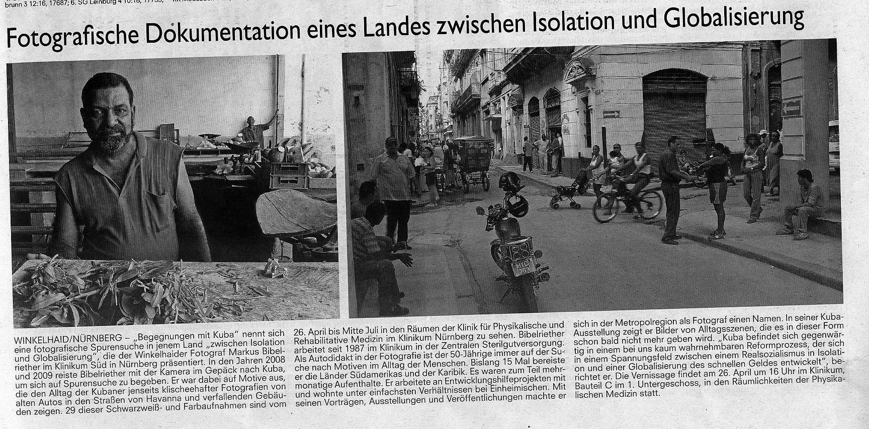 Fotoausstellung, Eröffnung am 26.04.2012, Zeitungsartikel