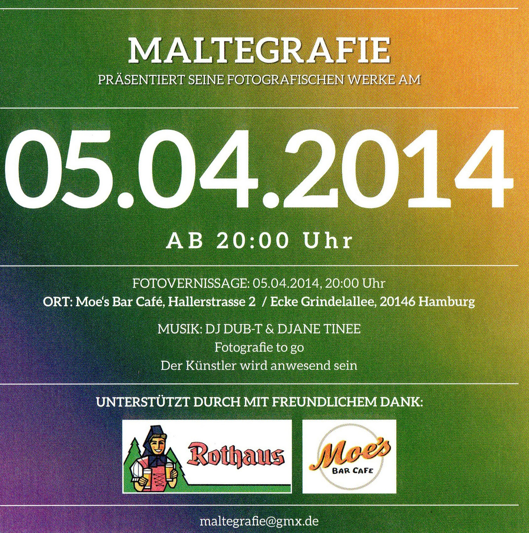 Fotoausstellung Heute im Moes Bar ab 20`h am 5.4.2014 Hamburg