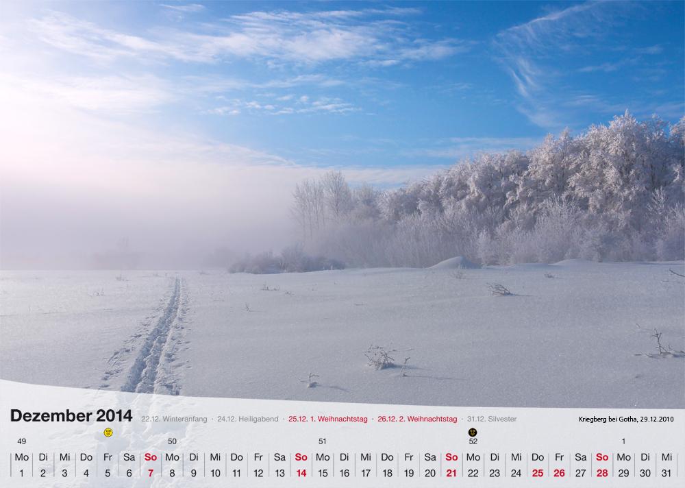 Fotokalender - Thüringer Landschaften - Dezember 2014