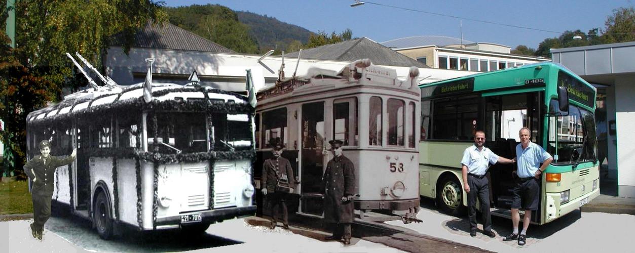 Fotomontage 100 Jahre Verkehrsbetriebe Baden-Baden