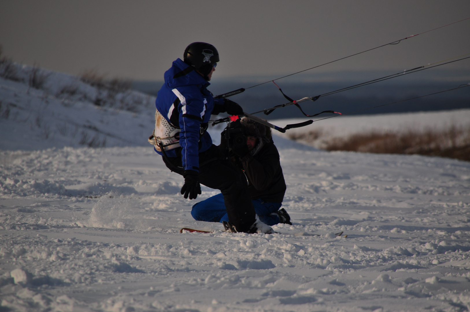 Fotoshooting beim Snowkiten