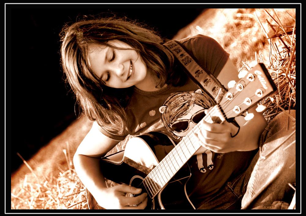 Fotoshooting mit Jessica und Gitarre im Spätsommer 2009